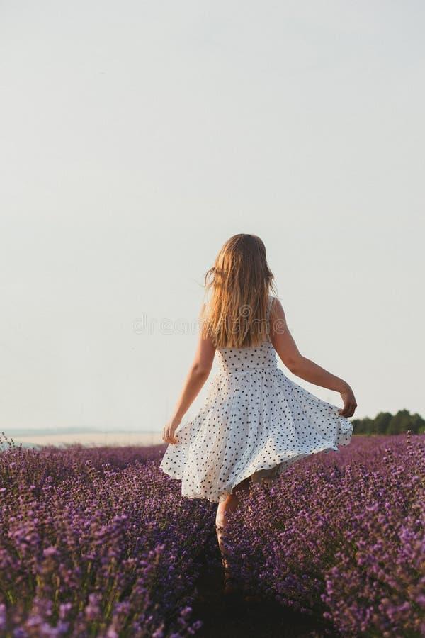 Frau auf dem Lavendelgebiet in der Sommerzeit stockfoto