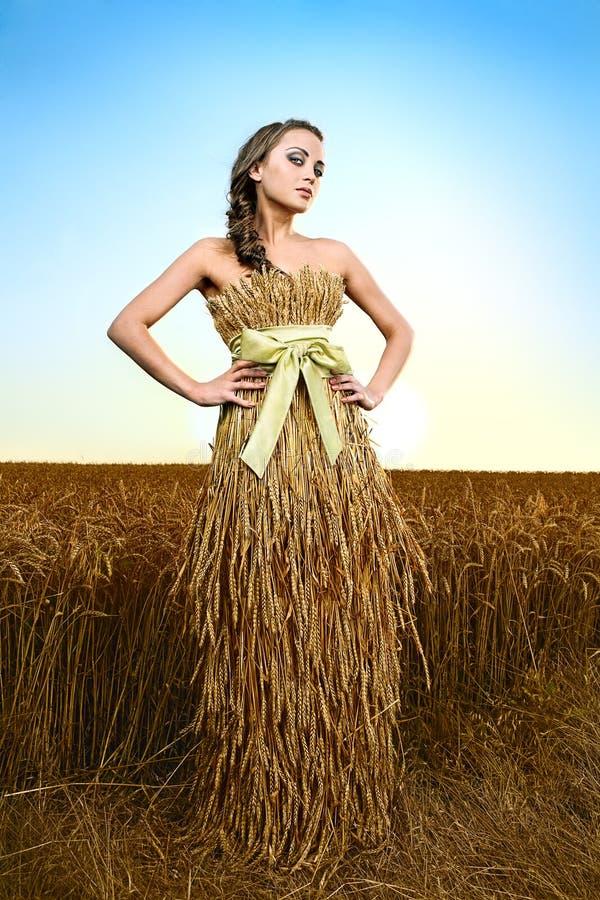 Frau auf dem Weizengebiet lizenzfreie stockfotografie