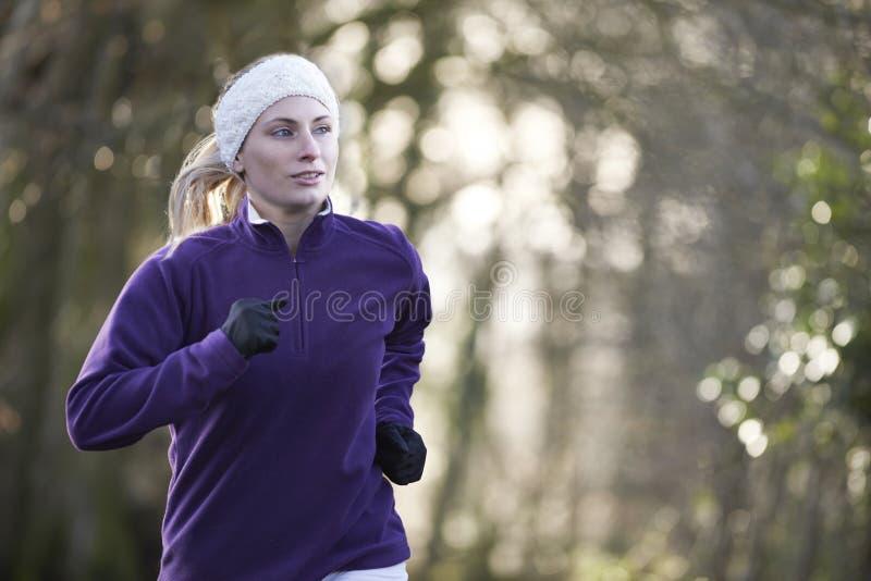 Frau auf dem Winter laufen gelassen durch Waldland stockfoto