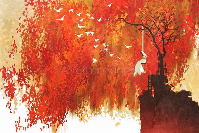 Frau auf einem Schwingen unter Herbstbaum lizenzfreie abbildung