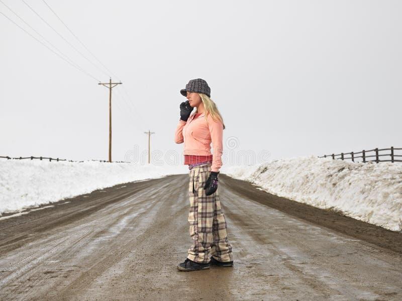 Frau auf Handy. stockfoto
