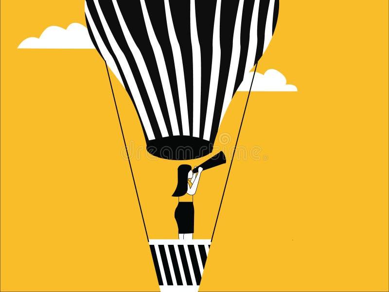Frau auf Heißluftballon stock abbildung