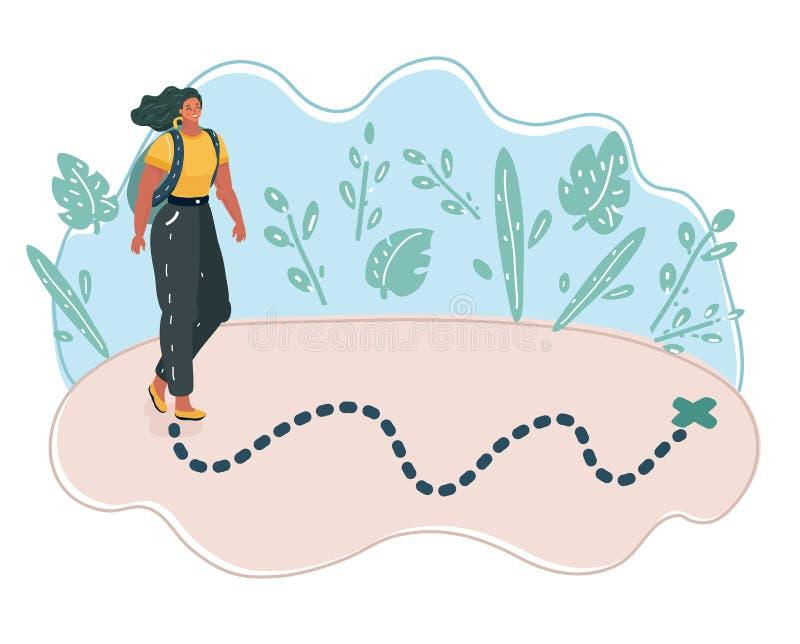 Frau auf Karte stock abbildung