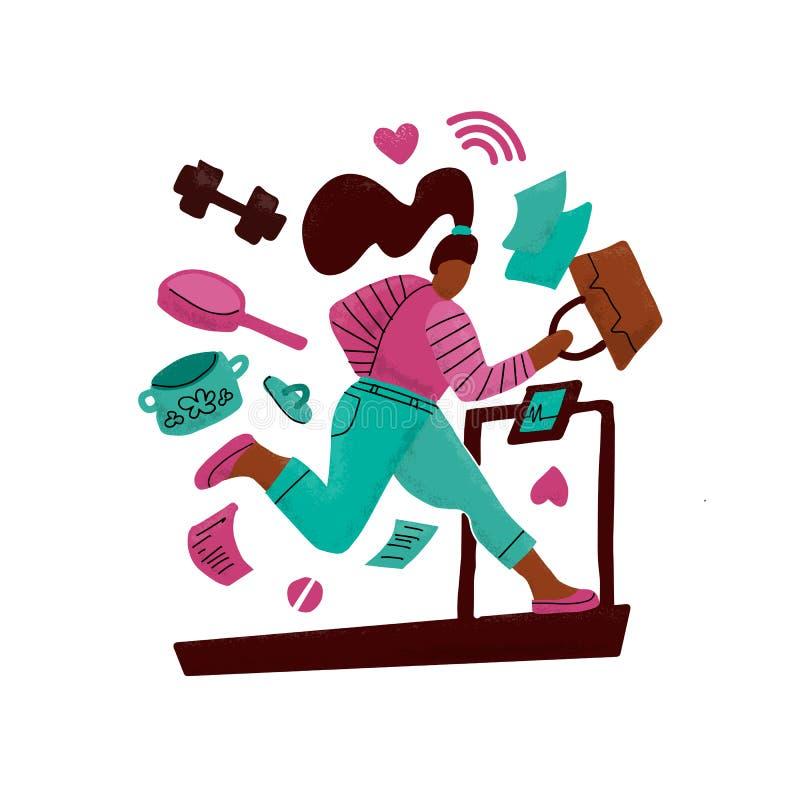 Frau auf Läufen einer Tretmühle weg von Problemen Mädchen umgeben durch Hausarbeiten Konzept von hart arbeitend Mehrprozeßdruck stock abbildung