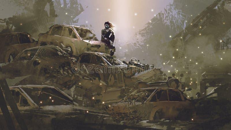 Frau auf Stapel von ruinierten Autos lizenzfreie abbildung