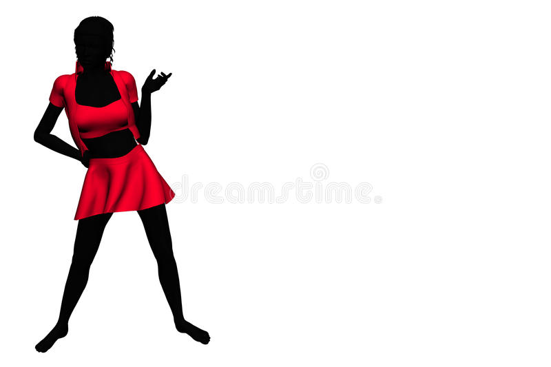 Frau auf weißem Hintergrund lizenzfreie abbildung