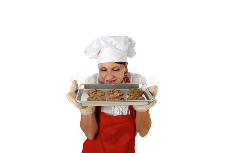 Frau-Backen-Schokoladenkekse lizenzfreies stockbild