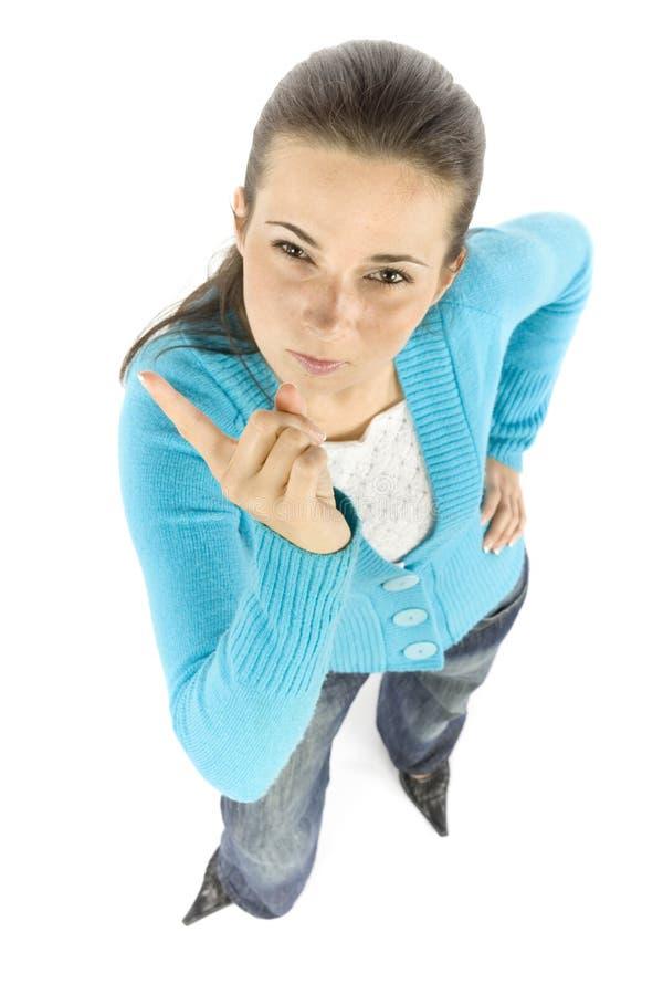 Frau bedroht durch Finger stockbilder