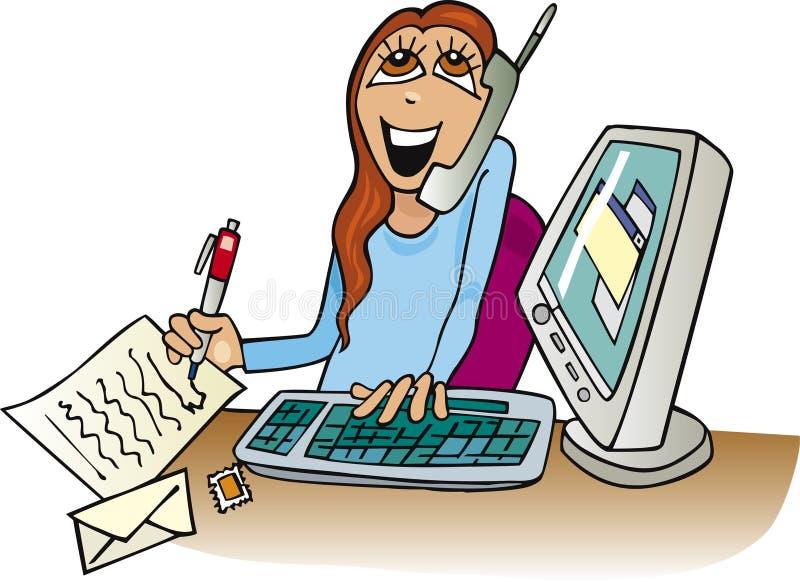 Frau bei der Arbeit im Büro lizenzfreie abbildung
