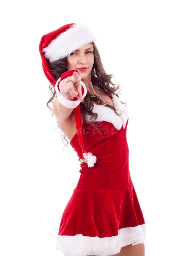 Frau beim Sankt-Schutzkappenzeigen stockfoto
