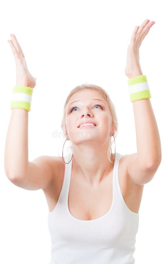 Download Frau, Beim Sporttragen Beten, Um Zu Gewinnen Stockfoto - Bild von erwachsener, schönheit: 12202218