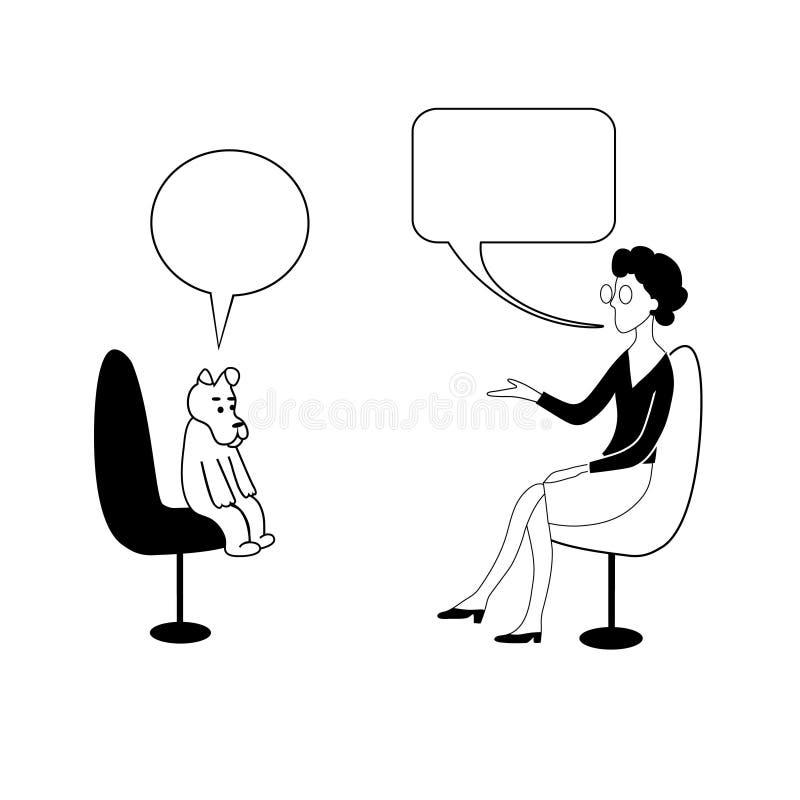 Frau bittet, in den Blasen zu verfolgen Sie sitzen und Unterhaltung Vektorkonturn-Zeichnungsbild lizenzfreie abbildung