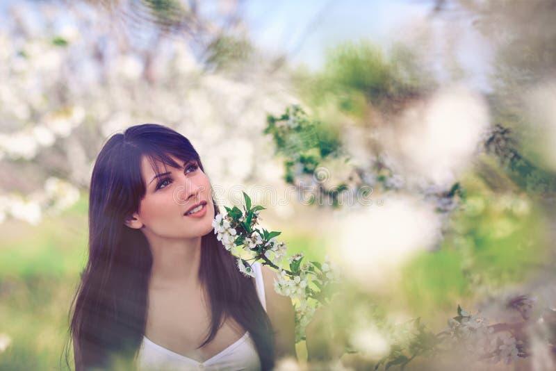 Frau in blühenden Bäumen im Frühjahr stockfotografie