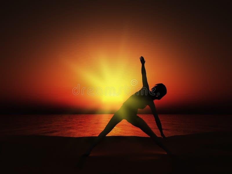 Frau 3D in der Yogahaltung bei Sonnenuntergang vektor abbildung