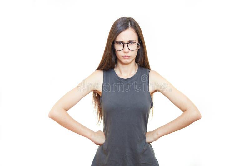 Frau in den Glasbürogefühlen Weißer Hintergrund stockfotos