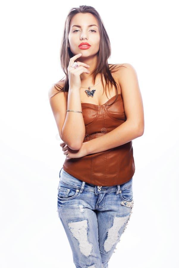 Frau in den Jeans stockbilder