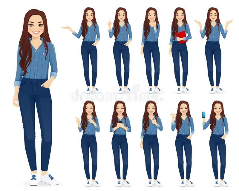 Frau in den Jeans eingestellt vektor abbildung