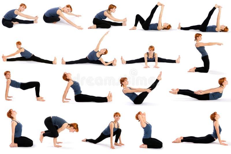 Frau in den verschiedenen sitzenden Yoga-Haltungen stockfotografie
