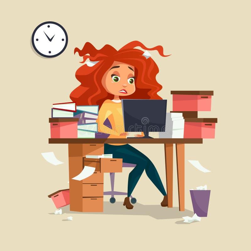 Frau in der Bürodruck-Vektorillustration Karikaturmädchenmanagerder arbeitsfristenüberlastung mit dem ungepflegten unordentlichen vektor abbildung