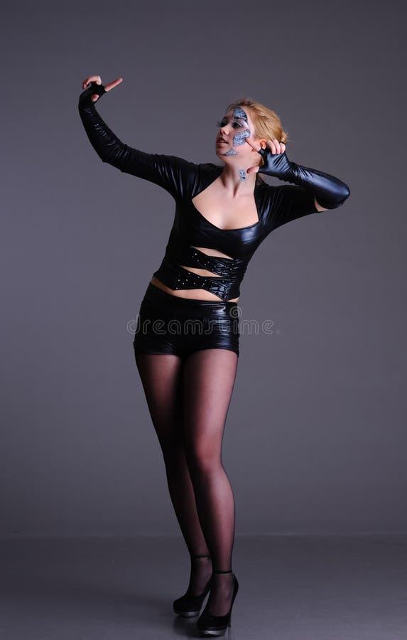 Frau in der Cyberartkleidung und -make-up stockfoto