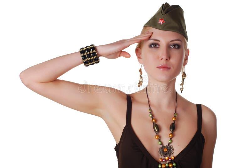 Frau in der Feldschutzkappe stockbilder