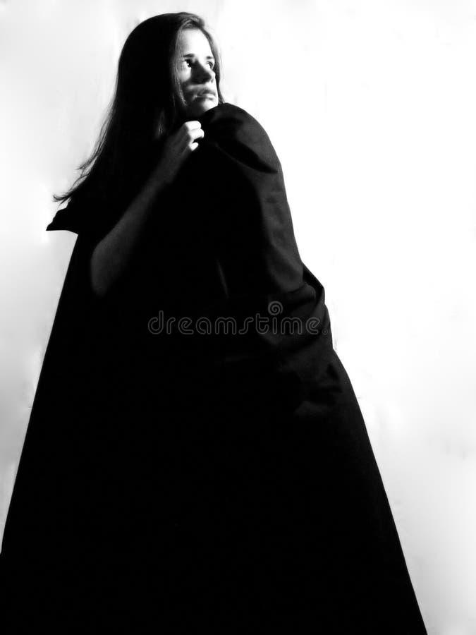 Frau in der hellen hellen ausdrückenden Furcht lizenzfreies stockfoto