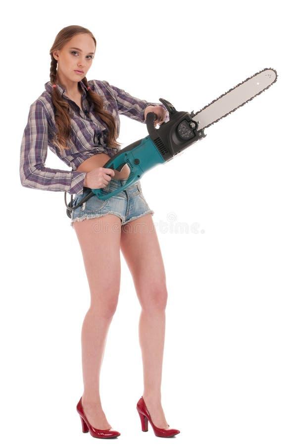 Frau der jungen Arbeitskraft in den Jeans lizenzfreies stockfoto