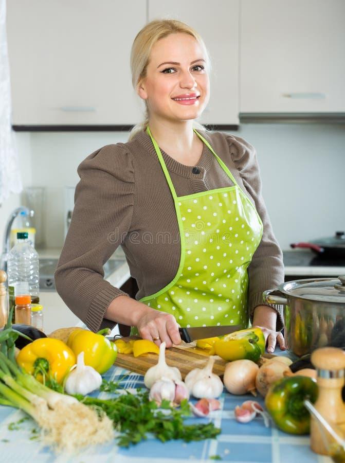 Frau in der Küche des Schutzblechs zu Hause stockbilder