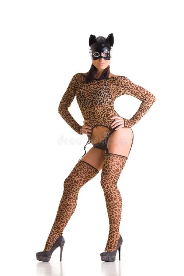 Frau in der Katzeschablone lizenzfreies stockbild