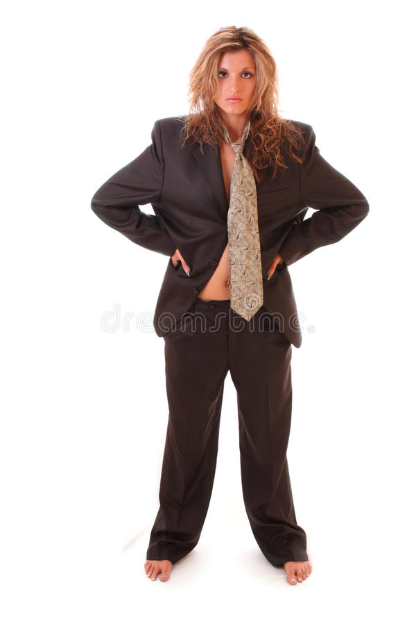 Frau in der Mannklage stockfotos