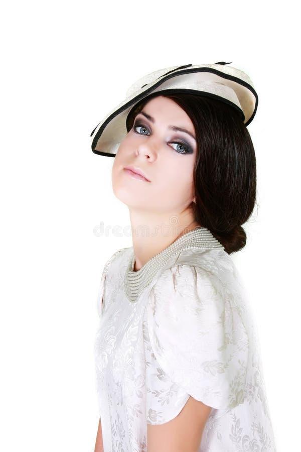 Frau in der Retro- Art über Weiß lizenzfreie stockfotos
