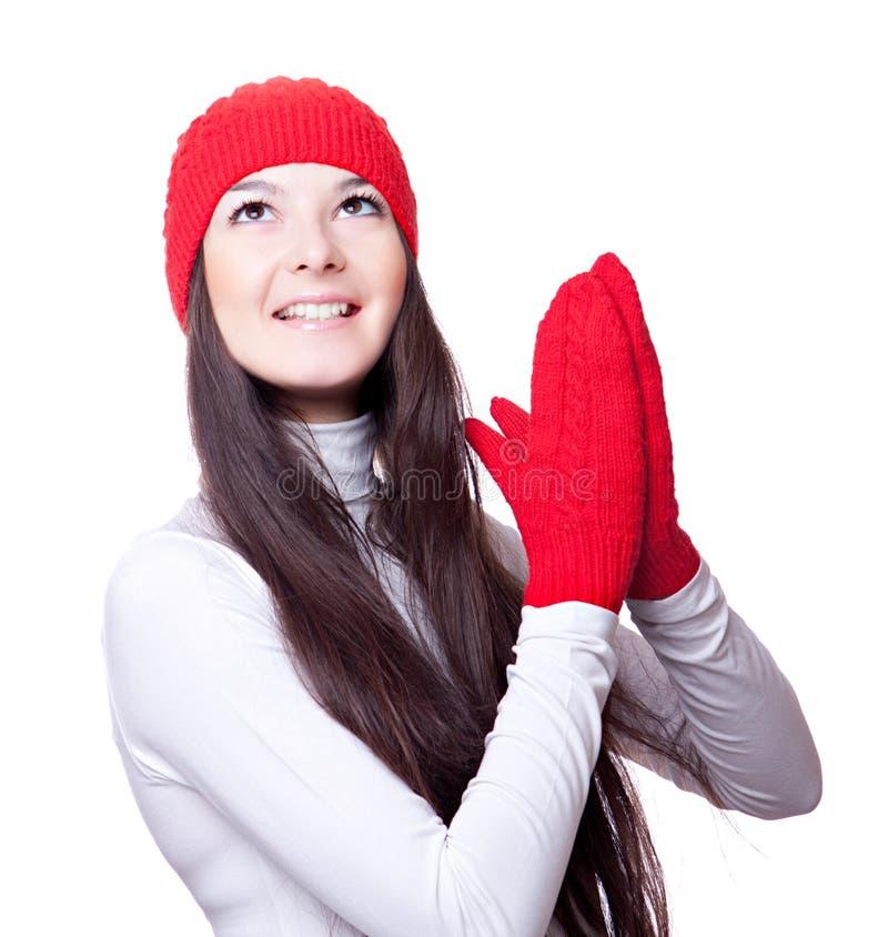 Download Frau In Der Roten Schutzkappe Und In Den Handschuhen Freut Sich Stockfoto - Bild von lächeln, kopf: 27730818