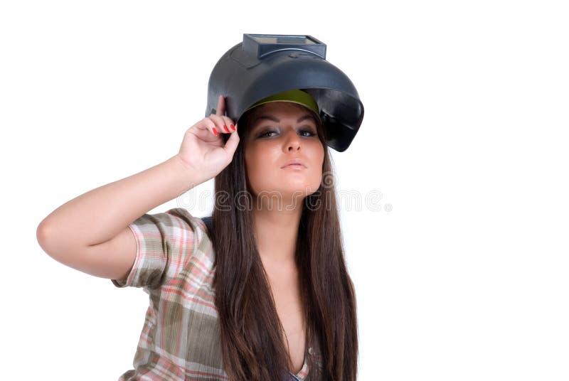 Frau in der Schweißerschablone stockbild