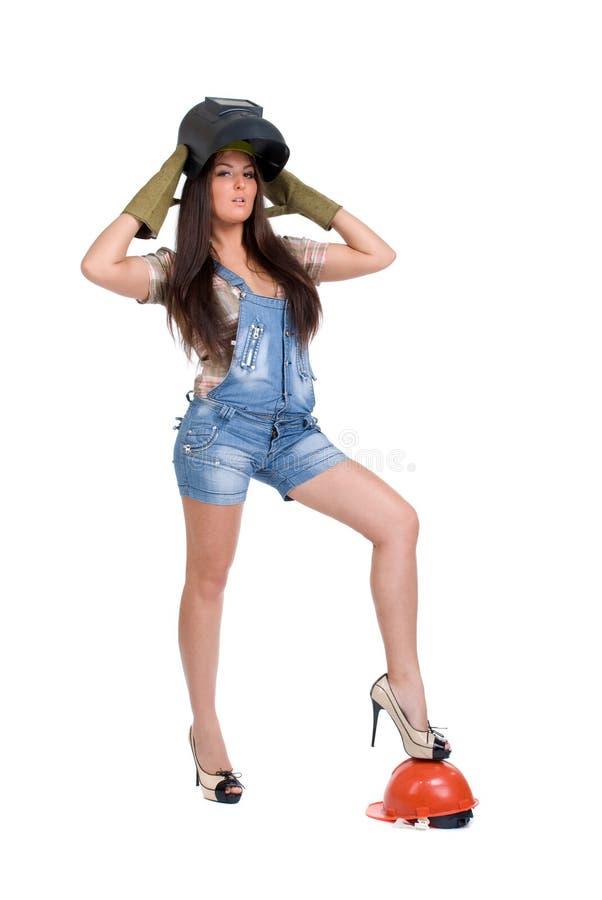 Frau in der Schweißerschablone stockfoto