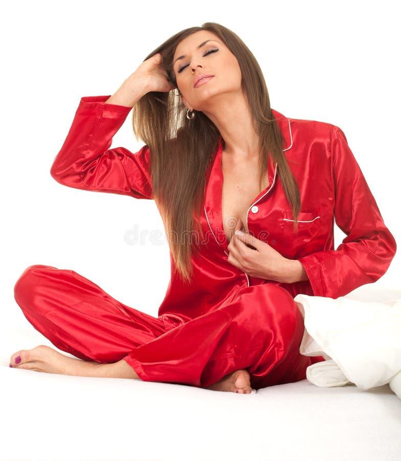 Frau in der weißen Bettwäsche, Serie lizenzfreie stockbilder