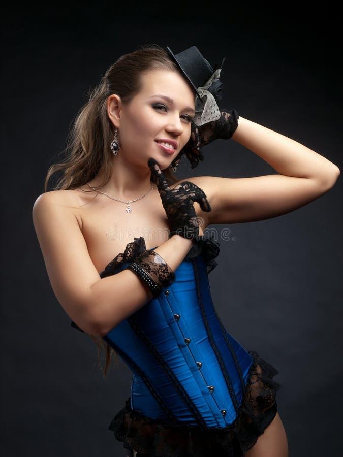 Frau in der Weinlesetanzkleidung stockbild