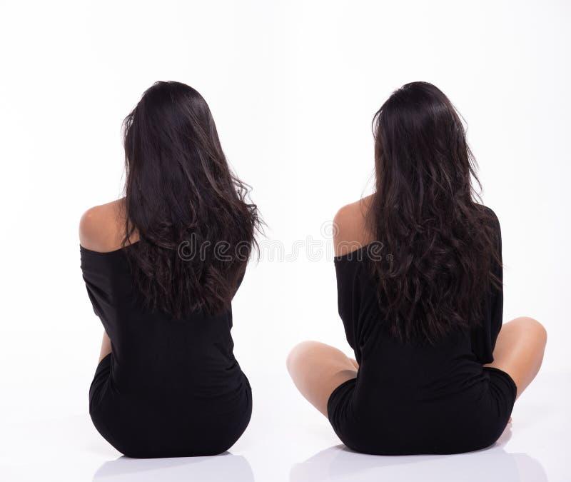 Frau des Asiaten 40s im Körperanzug Trikotanzugkleid lizenzfreies stockfoto