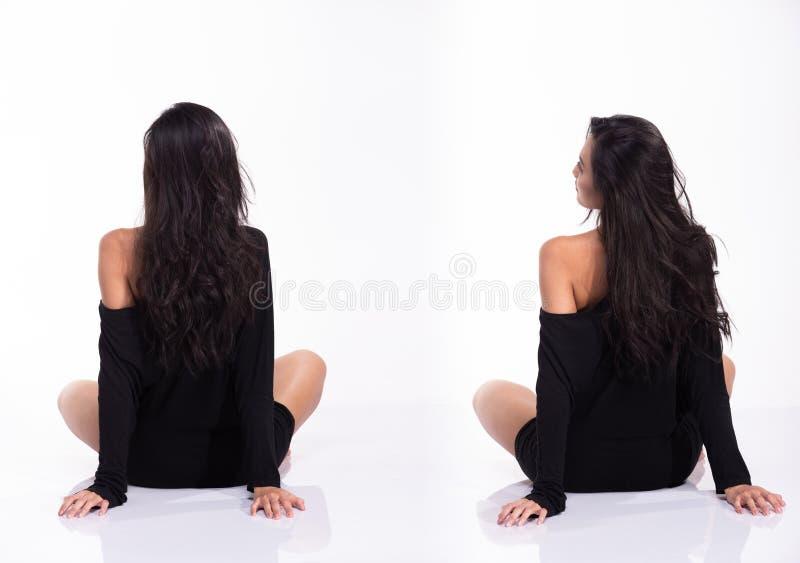 Frau des Asiaten 40s im Körperanzug Trikotanzugkleid stockfotos
