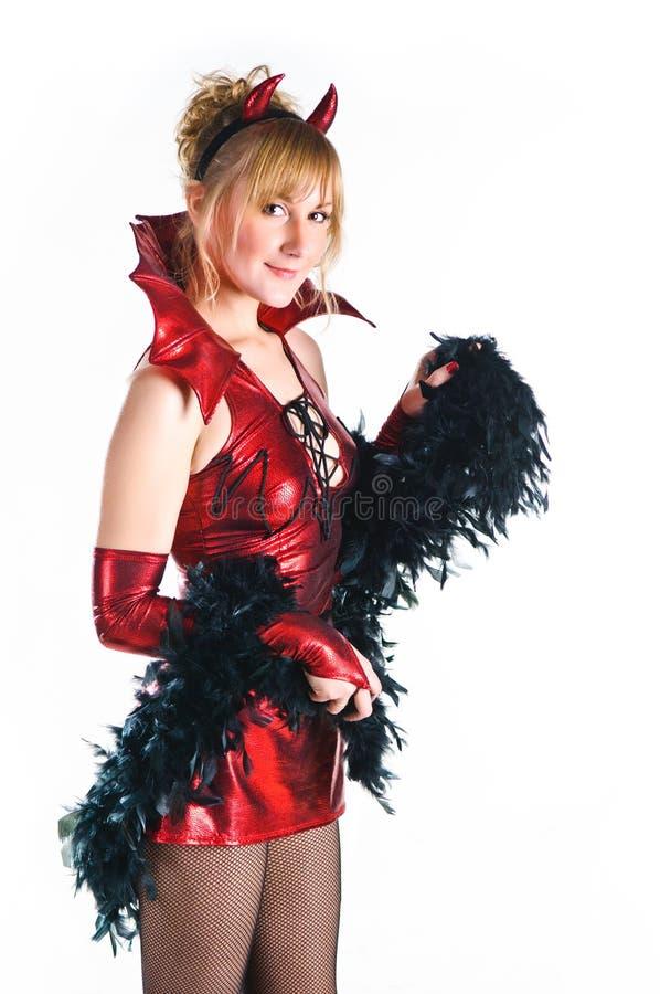 Frau des roten Teufels stockbild. Bild von schön, gefahr