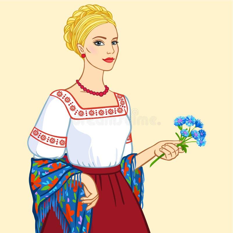 Frau des slawischen Auftrittes in der alten Kleidung, ein Porträt lokalisiert auf einem beige Hintergrund vektor abbildung