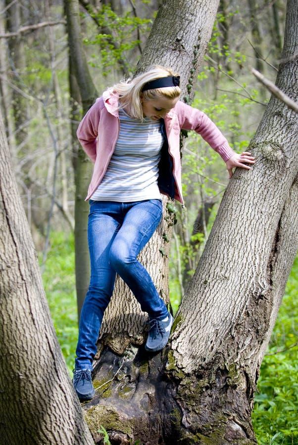 Frau, die auf Baumstumpf aufwirft lizenzfreies stockbild