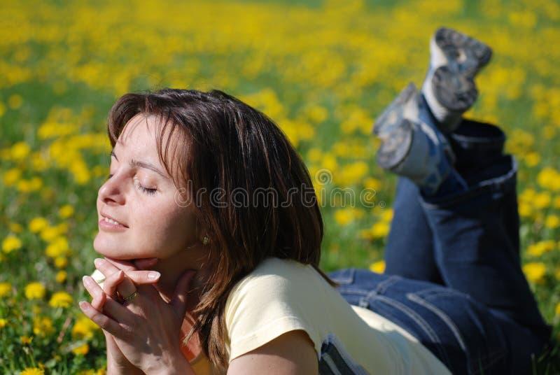 Frau, die auf dem Gebiet des Löwenzahns liegt lizenzfreie stockfotografie