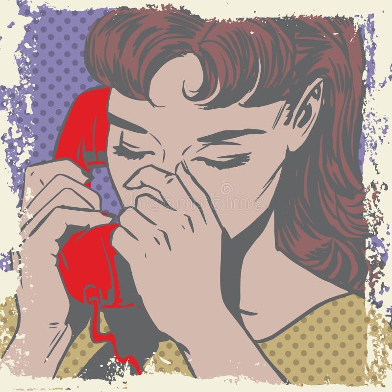 Frau, die auf den traurigen Pop-Arten-Comics des Telefons spricht stock abbildung