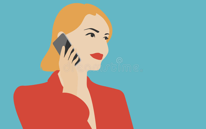 Frau, die auf der Handyillustration spricht vektor abbildung