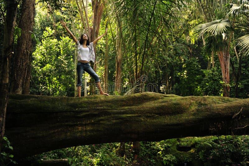 Frau, die auf einem gefallenen Baum steht stockfotografie