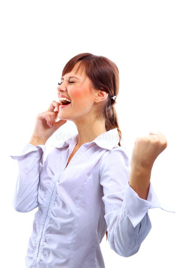 Frau, die auf einem Handy spricht lizenzfreies stockbild