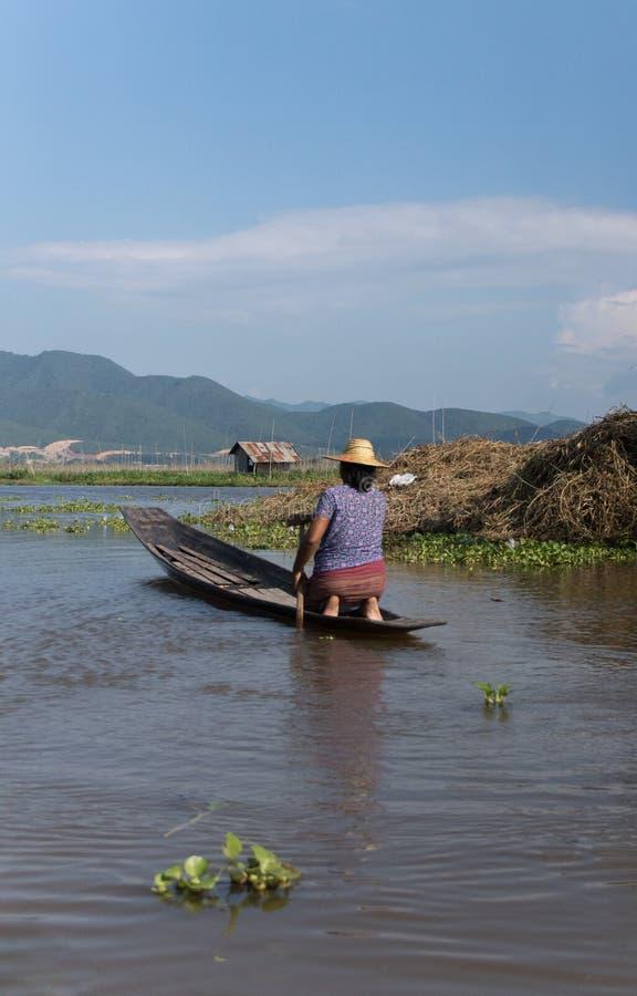 Frau, die auf einem kleinen hölzernen Boot auf inle See in Myanmar schaufelt lizenzfreies stockfoto