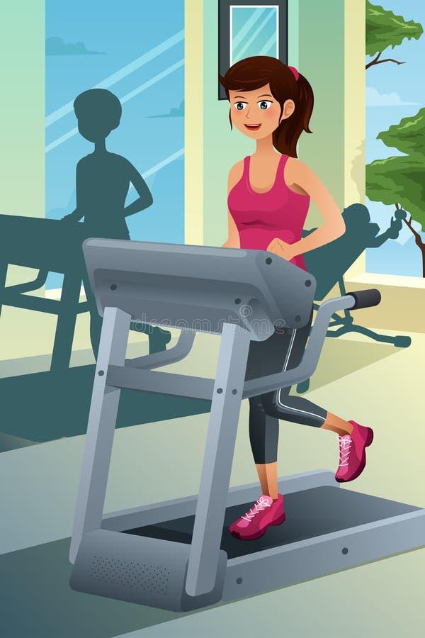 Frau, die auf einer Tretmühle in einer Turnhalle läuft stock abbildung