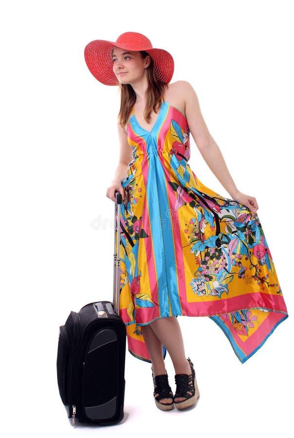 Frau, die auf Ferien geht stockfotos