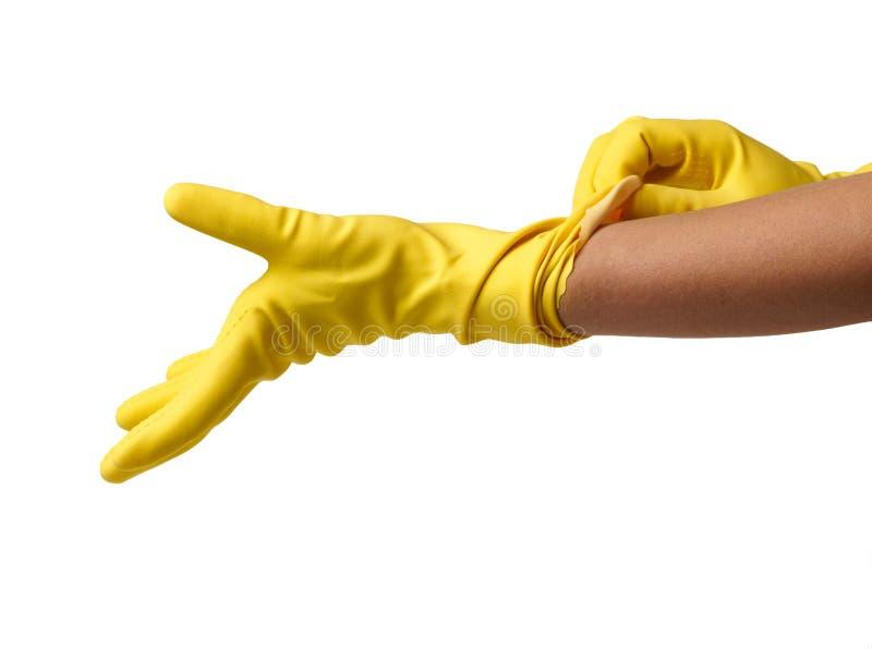Frau, die auf gelbe Handschuhe sich setzt stockfoto